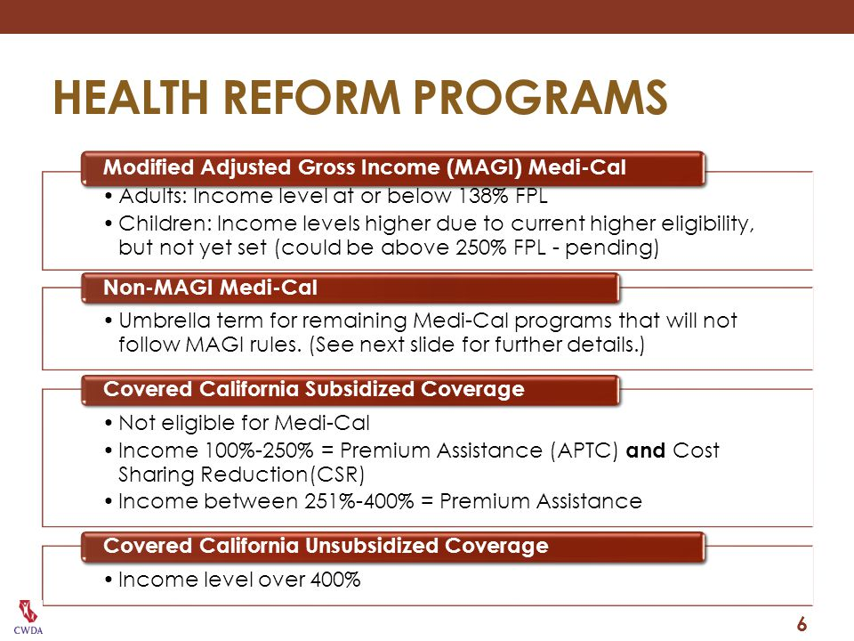 INFANTS AND CHILDREN Children currently eligible under the MN, MI, 1931(b) and the percentage programs will be consolidated under the new HCR group, and evaluated under MAGI Medi-Cal at the time of their annual renewal.