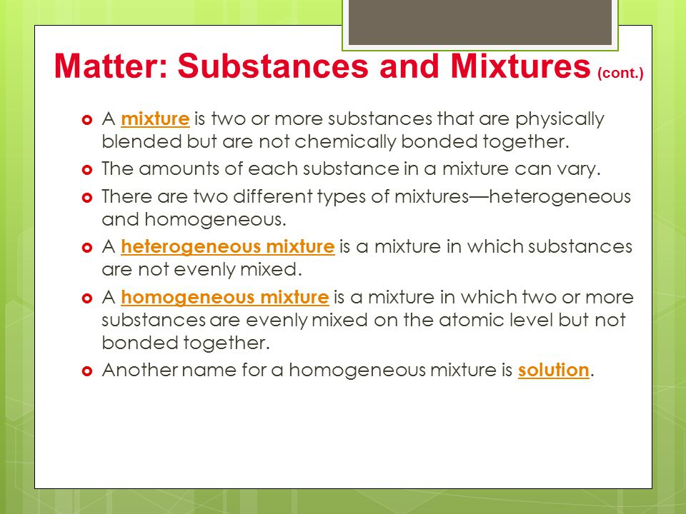There are two types of substances—elements and compounds.