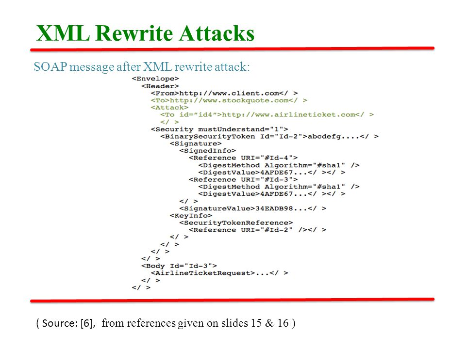 SOAP message after XML rewrite attack: XML Rewrite Attacks ( Source: [6], from references given on slides 15 & 16 )