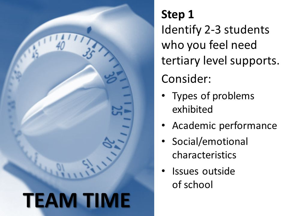 TEAM TIME Step 1 Identify 2-3 students who you feel need tertiary level supports. Consider: Types of problems exhibited Academic performance Social/em