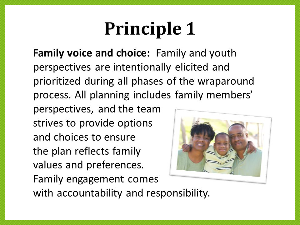 Principle 1 Family voice and choice: Family and youth perspectives are intentionally elicited and prioritized during all phases of the wraparound proc