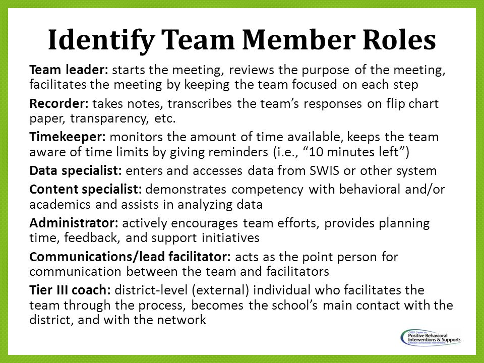 Identify Team Member Roles Team leader: starts the meeting, reviews the purpose of the meeting, facilitates the meeting by keeping the team focused on
