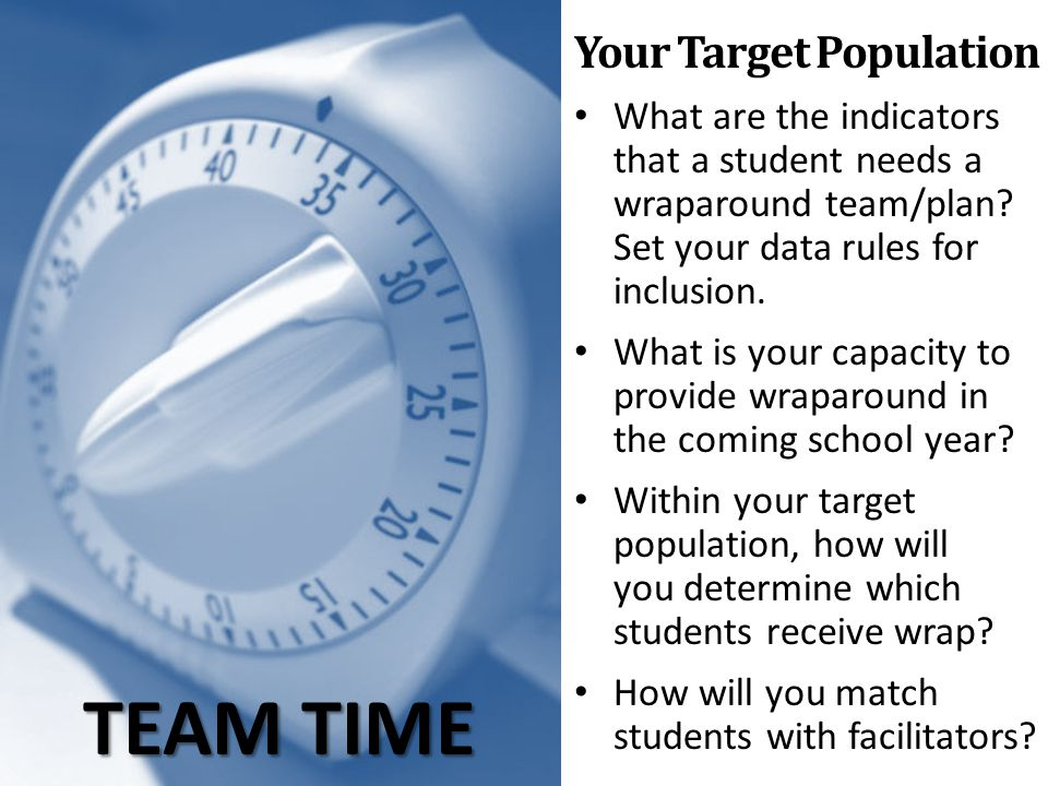 TEAM TIME Your Target Population What are the indicators that a student needs a wraparound team/plan? Set your data rules for inclusion. What is your