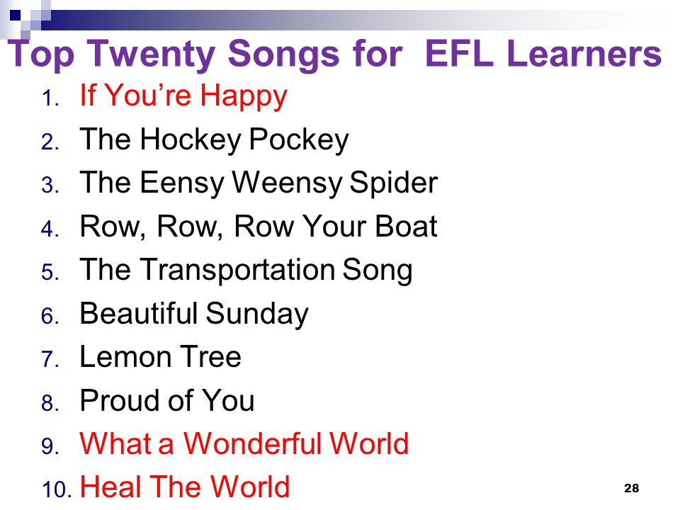Top Twenty Songs for EFL Learners 1. If You're Happy 2.