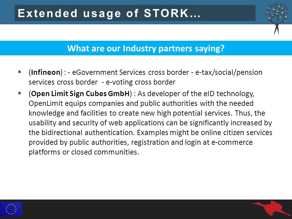 Extended usage of STORK…  (Infineon) : - eGovernment Services cross border - e-tax/social/pension services cross border - e-voting cross border  (Open Limit Sign Cubes GmbH) : As developer of the eID technology, OpenLimit equips companies and public authorities with the needed knowledge and facilities to create new high potential services.