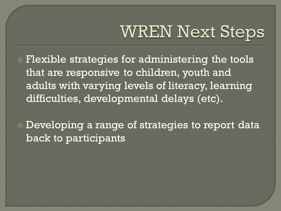  Flexible strategies for administering the tools that are responsive to children, youth and adults with varying levels of literacy, learning difficulties, developmental delays (etc).