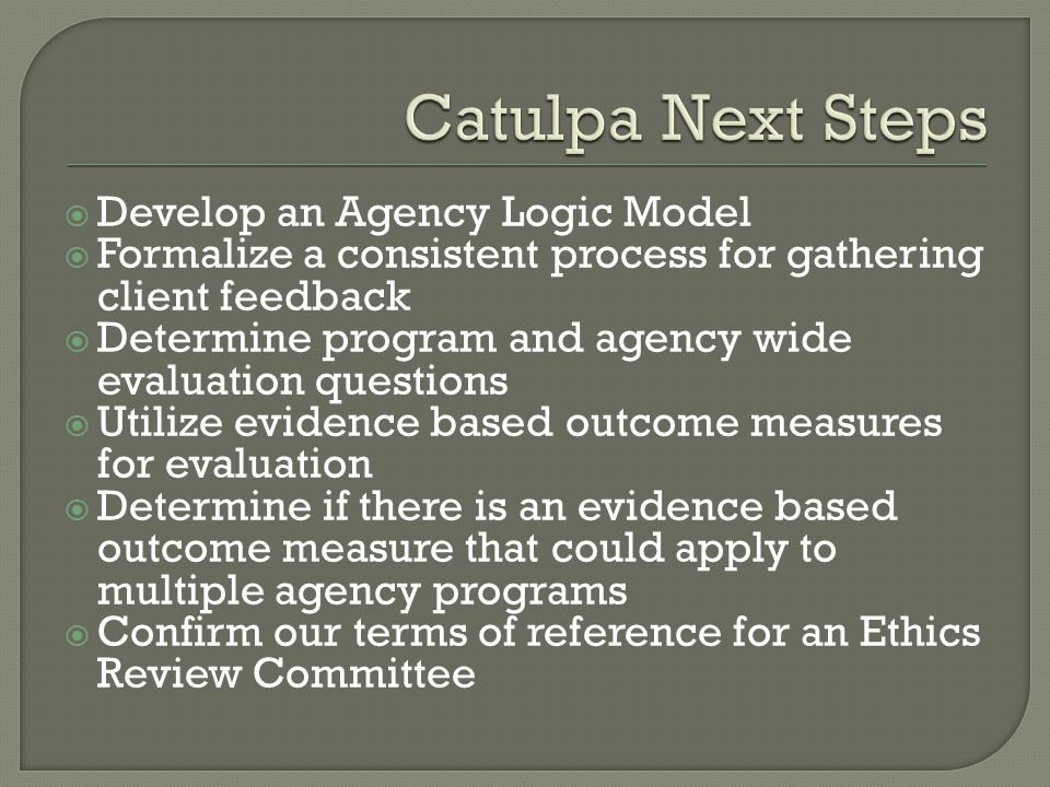  Develop an Agency Logic Model  Formalize a consistent process for gathering client feedback  Determine program and agency wide evaluation questions  Utilize evidence based outcome measures for evaluation  Determine if there is an evidence based outcome measure that could apply to multiple agency programs  Confirm our terms of reference for an Ethics Review Committee