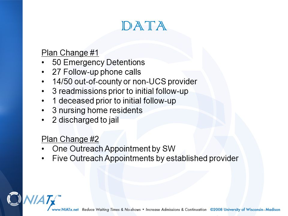 DATA Plan Change #3 All on-call staff received 3 hour suicide assessment training from Dr.