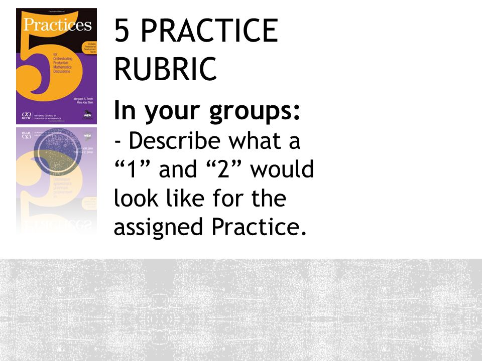 5 PRACTICE RUBRIC In your groups: -Describe what a 1 and 2 would look like for the assigned Practice.