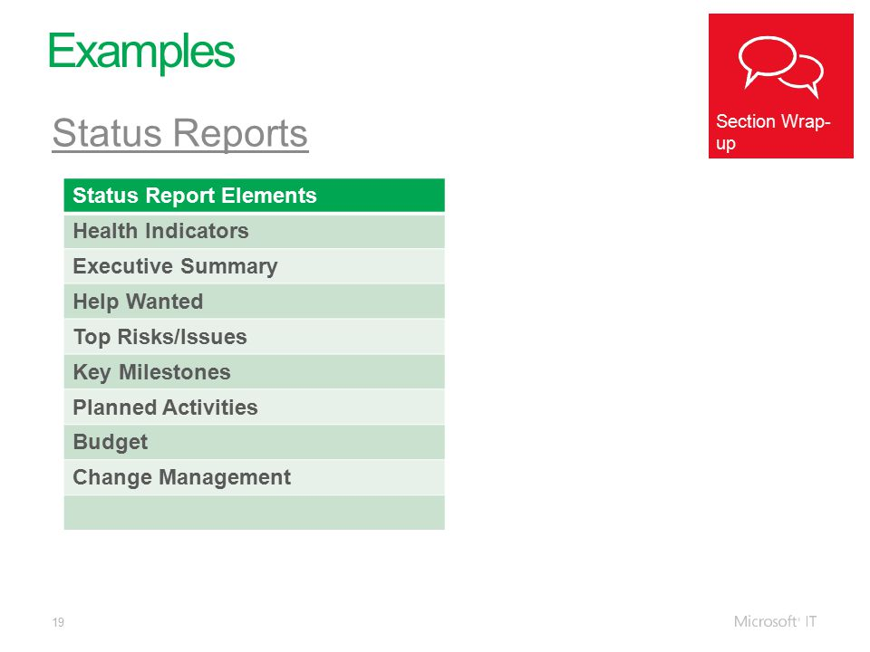 19 Examples Section Wrap- up Status Reports Status Report Elements Health Indicators Executive Summary Help Wanted Top Risks/Issues Key Milestones Planned Activities Budget Change Management