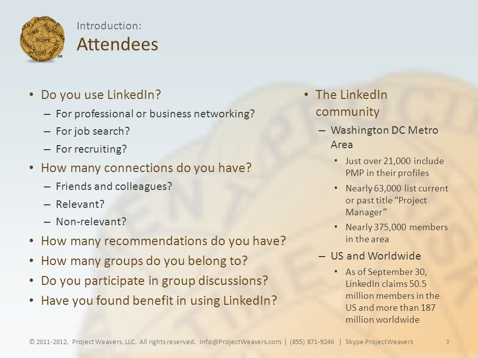 Attendees Do you use LinkedIn. – For professional or business networking.