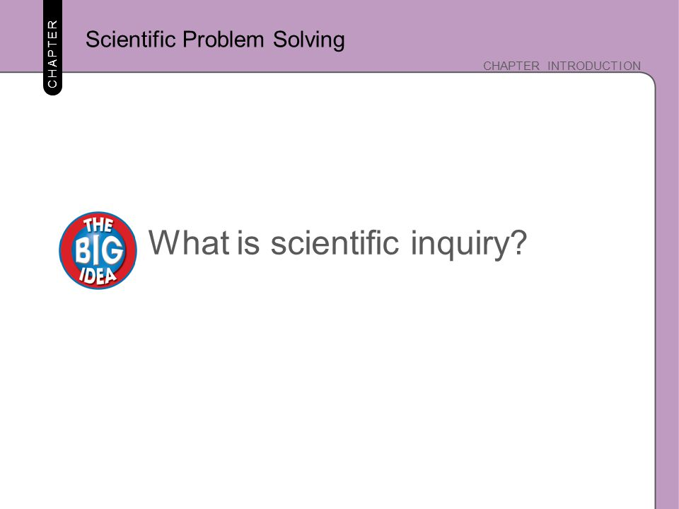 CHAPTER INTRODUCTION CHAPTER What is scientific inquiry? Scientific Problem Solving