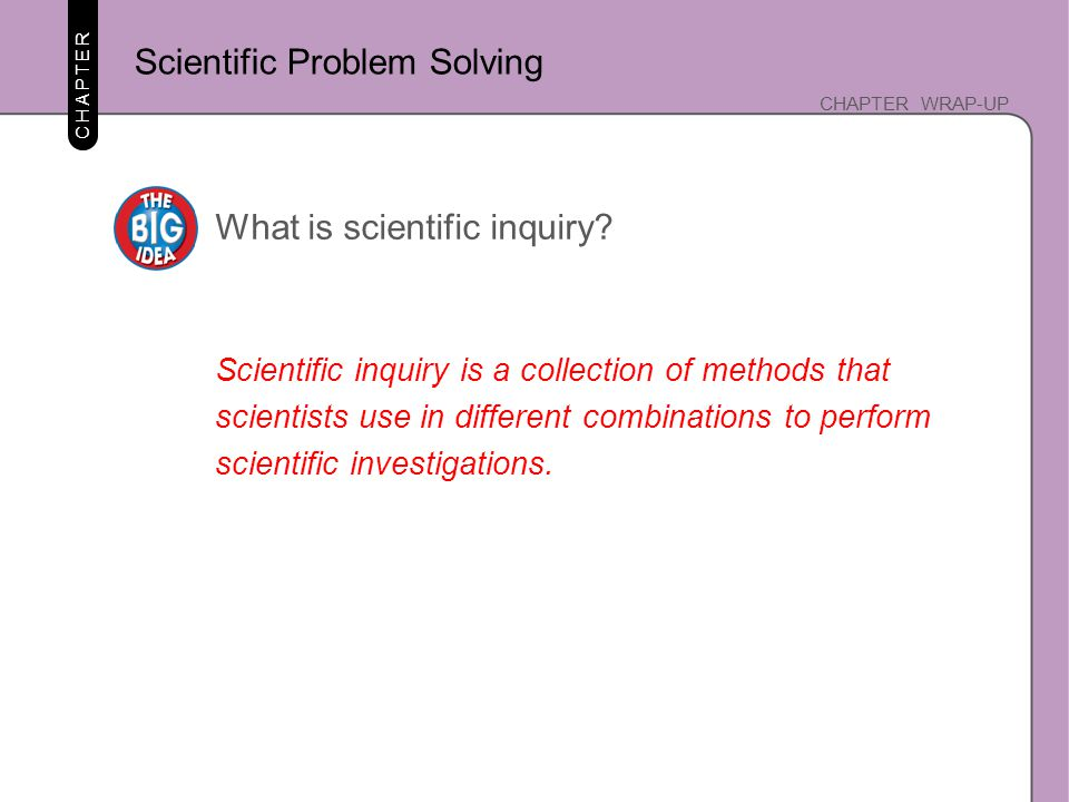 CHAPTER CHAPTER WRAP-UP What is scientific inquiry? Scientific inquiry is a collection of methods that scientists use in different combinations to per