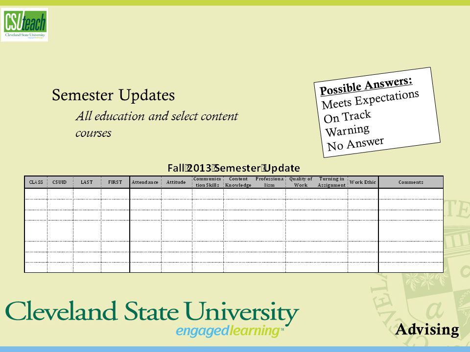 Semester Updates All education and select content courses Possible Answers: Meets Expectations On Track Warning No Answer Advising