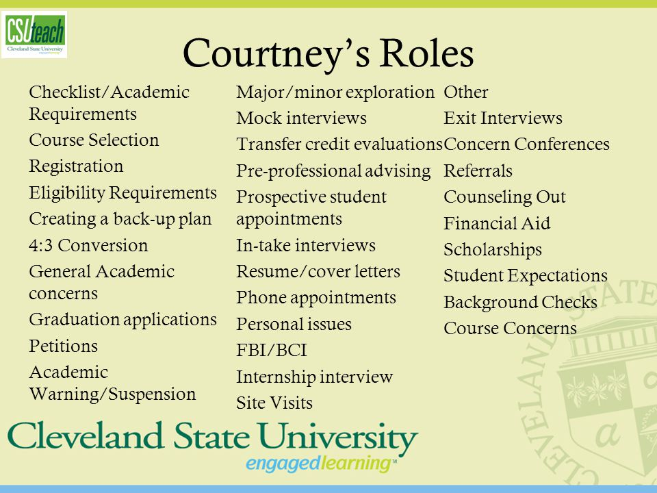 Courtney's Roles Checklist/Academic Requirements Course Selection Registration Eligibility Requirements Creating a back-up plan 4:3 Conversion General