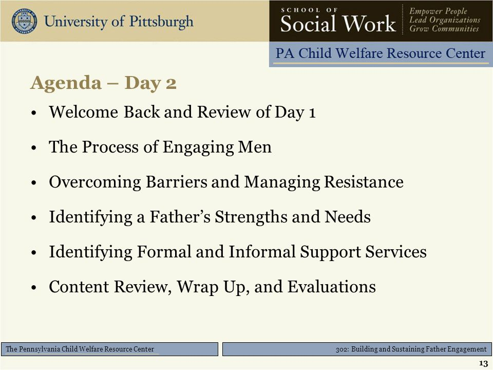 302: Building and Sustaining Father Engagement The Pennsylvania Child Welfare Resource Center Agenda – Day 2 Welcome Back and Review of Day 1 The Proc