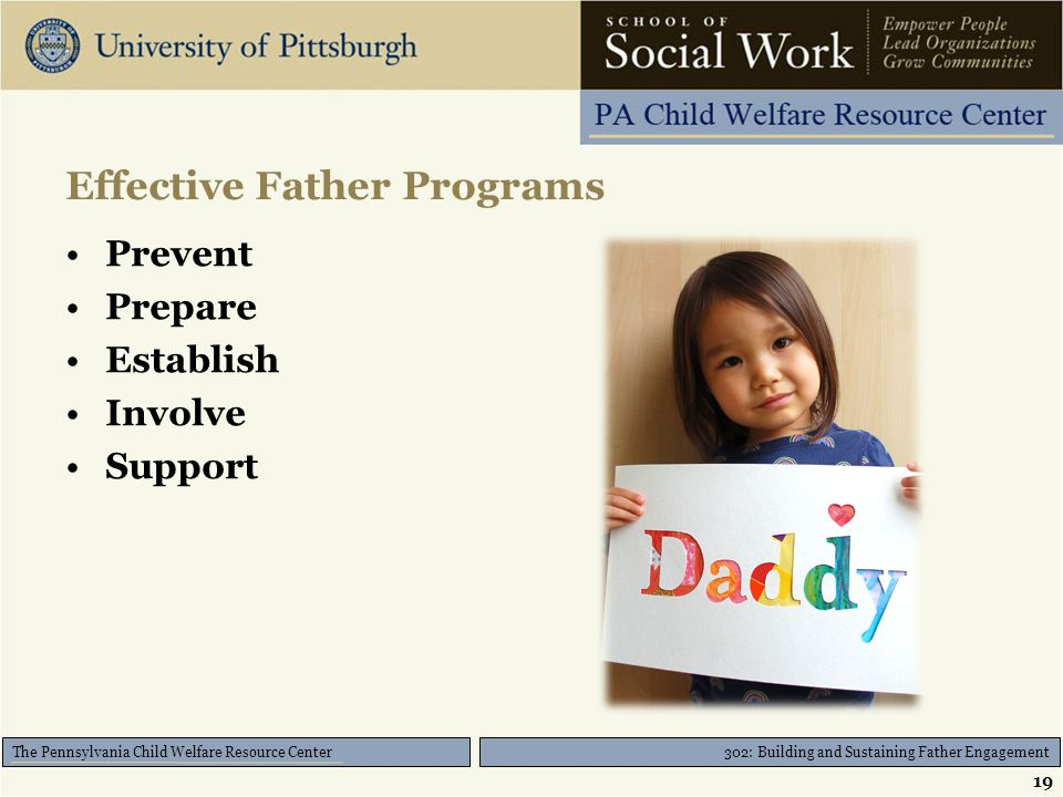 302: Building and Sustaining Father Engagement The Pennsylvania Child Welfare Resource Center Effective Father Programs Prevent Prepare Establish Invo