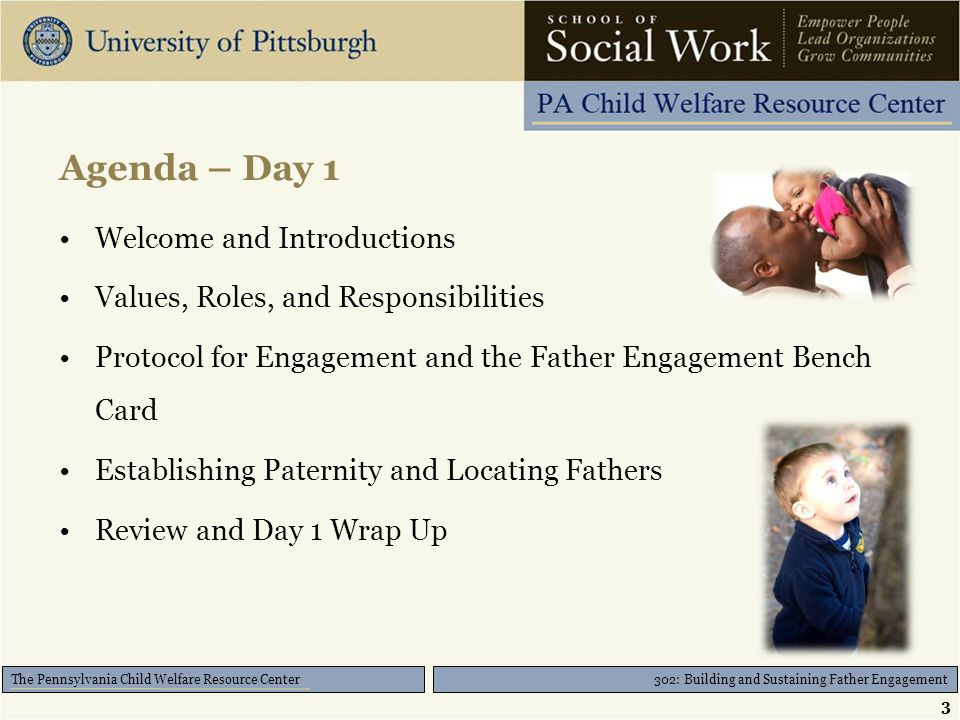 302: Building and Sustaining Father Engagement The Pennsylvania Child Welfare Resource Center Agenda – Day 1 Welcome and Introductions Values, Roles, and Responsibilities Protocol for Engagement and the Father Engagement Bench Card Establishing Paternity and Locating Fathers Review and Day 1 Wrap Up 3