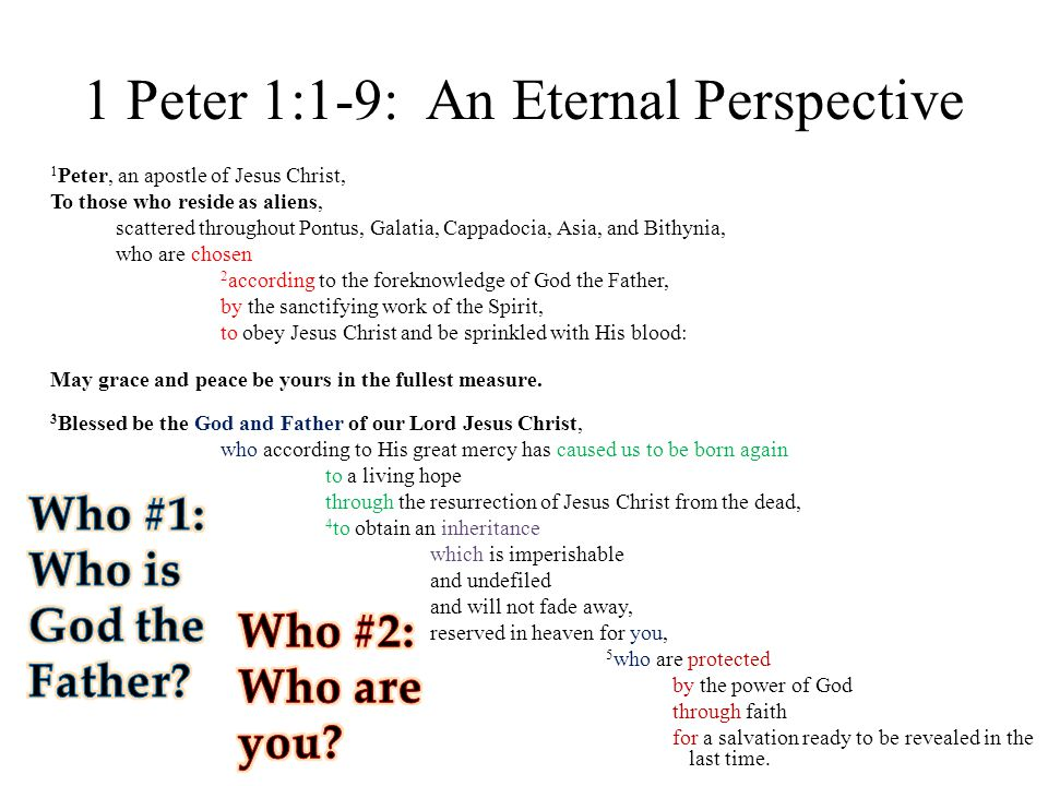 1 Peter 1:1-9: An Eternal Perspective 1 Peter, an apostle of Jesus Christ, To those who reside as aliens, scattered throughout Pontus, Galatia, Cappadocia, Asia, and Bithynia, who are chosen 2 according to the foreknowledge of God the Father, by the sanctifying work of the Spirit, to obey Jesus Christ and be sprinkled with His blood: May grace and peace be yours in the fullest measure.