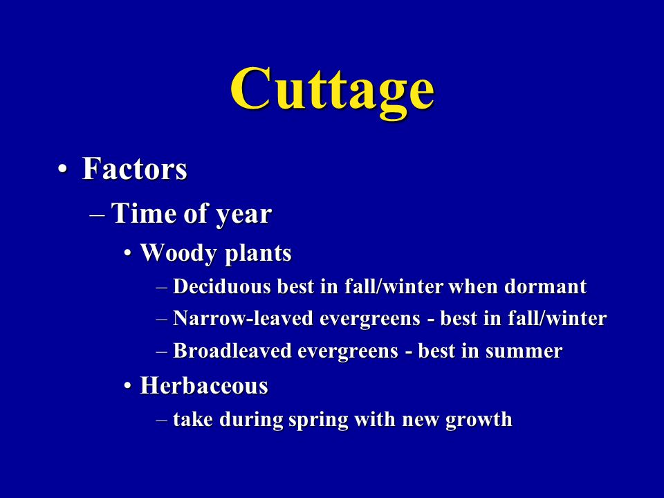 Cuttage FactorsFactors –Time of year Woody plantsWoody plants –Deciduous best in fall/winter when dormant –Narrow-leaved evergreens - best in fall/winter –Broadleaved evergreens - best in summer HerbaceousHerbaceous –take during spring with new growth