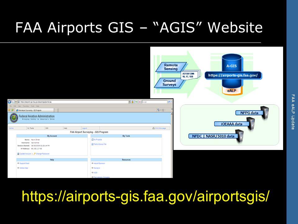 FAA eALP Update FAA Airports GIS – AGIS Website https://airports-gis.faa.gov/airportsgis/