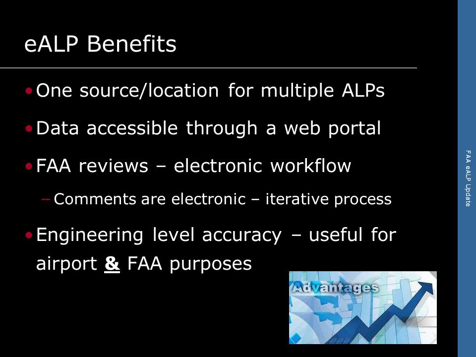 FAA eALP Update The Road Ahead eALP guidance and specifications – Pilot Program Lessons Learned will affect changes – Data update processes & data archiving Data creation for airports – FAA AGIS Training – FAA IDLE
