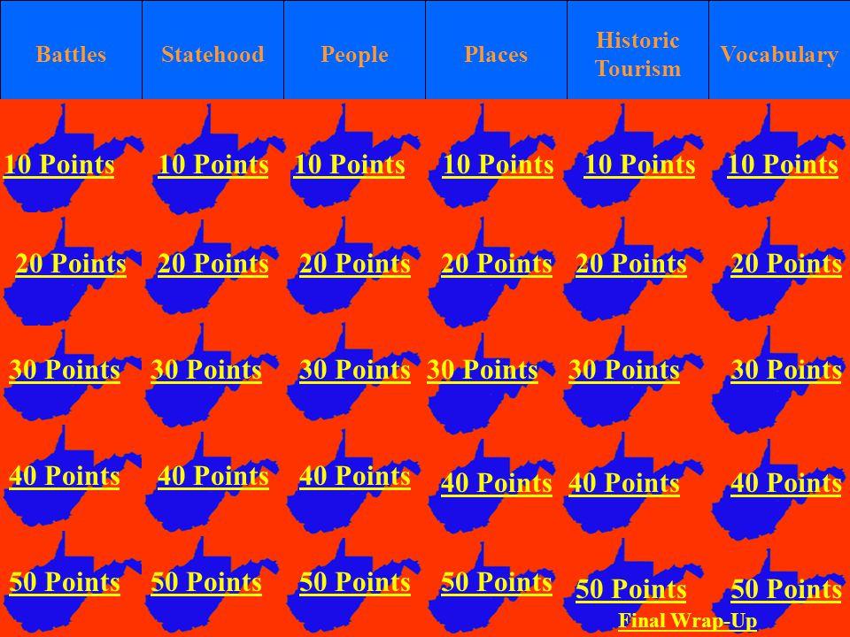 BattlesStatehoodPlaces Historic Tourism VocabularyPeople 10 Points 20 Points 30 Points 40 Points 50 Points 10 Points 20 Points 30 Points 40 Points 50 Points 10 Points 20 Points 30 Points 40 Points 50 Points 10 Points 20 Points 30 Points 40 Points 50 Points 10 Points 20 Points 30 Points 40 Points 50 Points 20 Points 30 Points 40 Points 50 Points 10 Points Final Wrap-Up