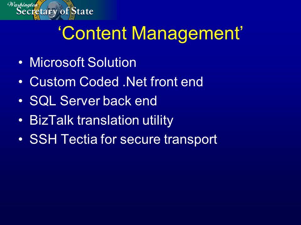 Microsoft Solution Custom Coded.Net front end SQL Server back end BizTalk translation utility SSH Tectia for secure transport