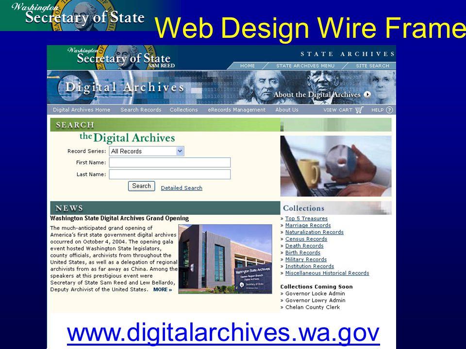 www.digitalarchives.wa.gov Web Design Wire Frame