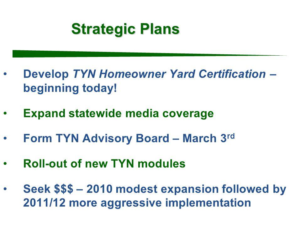 Strategic Plans Develop TYN Homeowner Yard Certification – beginning today.