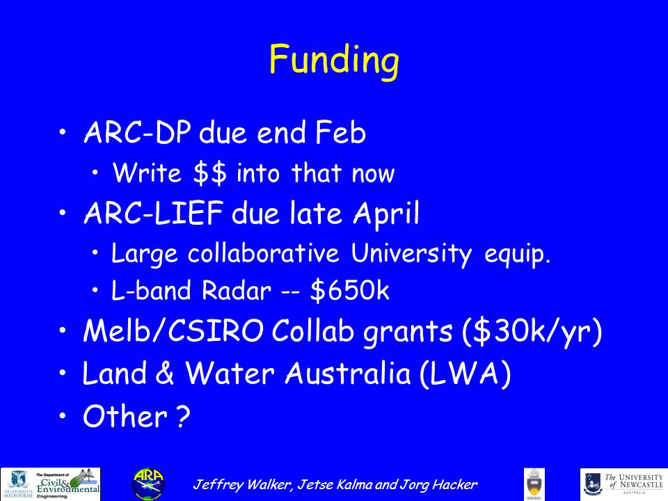 Jeffrey Walker, Jetse Kalma and Jorg Hacker Funding ARC-DP due end Feb Write $$ into that now ARC-LIEF due late April Large collaborative University equip.