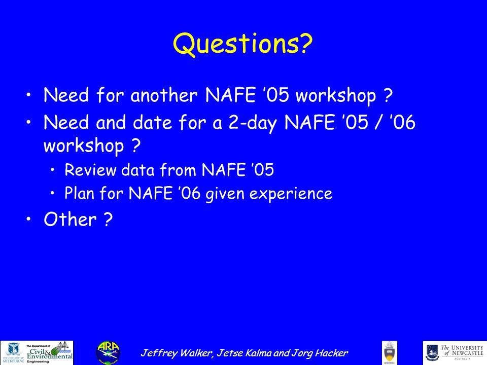 Jeffrey Walker, Jetse Kalma and Jorg Hacker Questions.