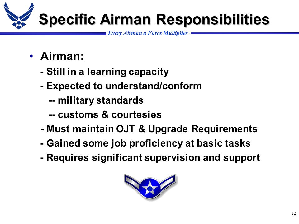 Every Airman a Force Multiplier 12 Specific Airman Responsibilities Airman: - Still in a learning capacity - Expected to understand/conform -- military standards -- customs & courtesies - Must maintain OJT & Upgrade Requirements - Gained some job proficiency at basic tasks - Requires significant supervision and support