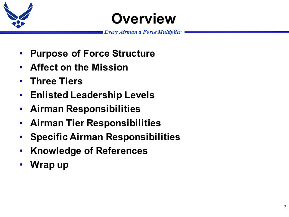 Every Airman a Force Multiplier 2 Overview Purpose of Force Structure Affect on the Mission Three Tiers Enlisted Leadership Levels Airman Responsibilities Airman Tier Responsibilities Specific Airman Responsibilities Knowledge of References Wrap up