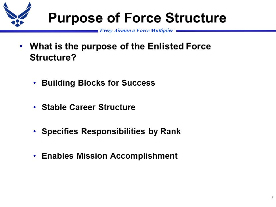 Every Airman a Force Multiplier 3 Purpose of Force Structure What is the purpose of the Enlisted Force Structure.
