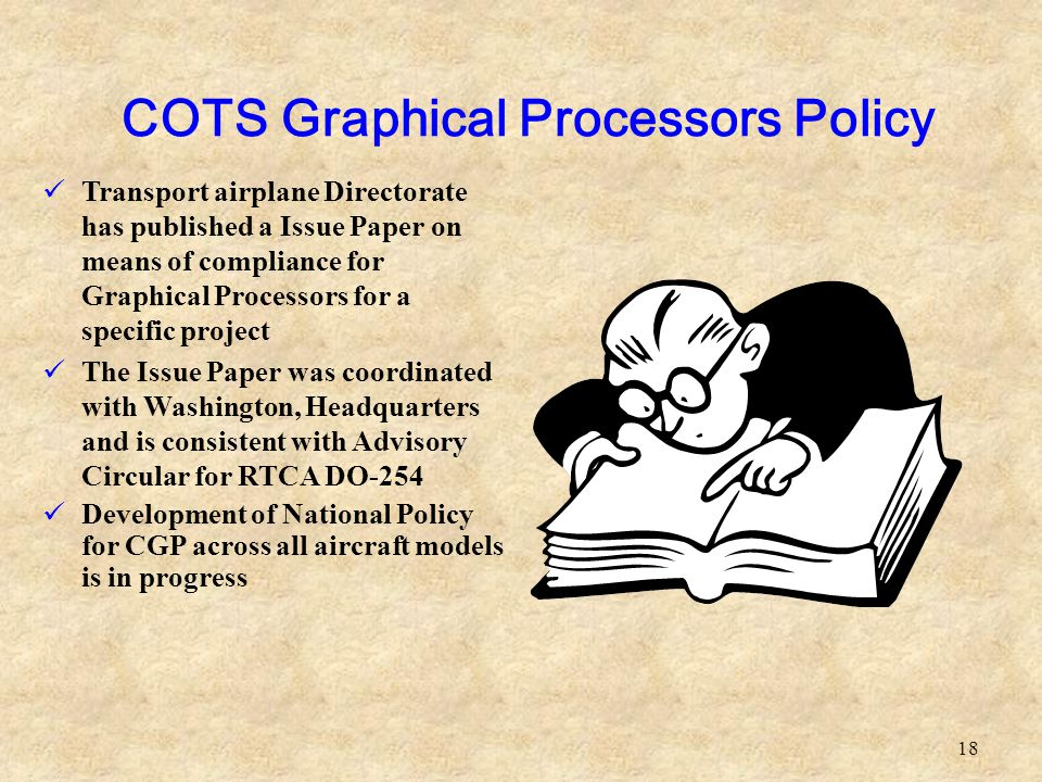 18 Transport airplane Directorate has published a Issue Paper on means of compliance for Graphical Processors for a specific project The Issue Paper w
