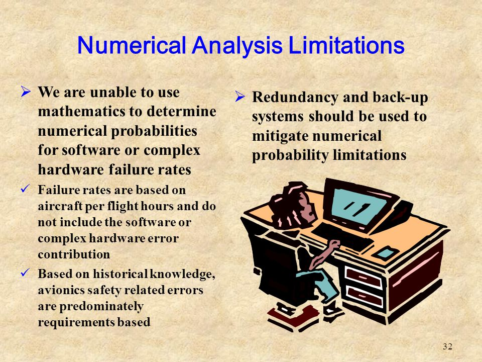 32  We are unable to use mathematics to determine numerical probabilities for software or complex hardware failure rates Failure rates are based on a
