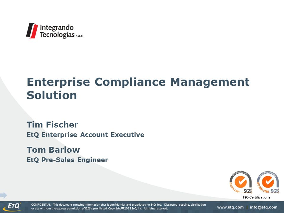 Quality Management Solution – Comprehensive integrated suite of modules built on the EtQ Reliance Platform to meet the needs of Quality Management standards and initiatives: – Features comprehensive set of utilities Document ControlChange Management Corrective ActionEmployee Training AuditsDeviations NonconformancesMeetings Supplier ManagementFMEA PPAPCalibration & Maintenance PDM (Spec.