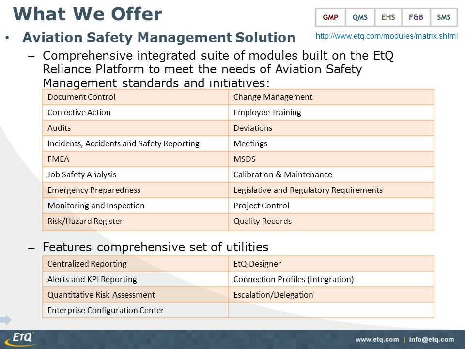 Aviation Safety Management Solution – Comprehensive integrated suite of modules built on the EtQ Reliance Platform to meet the needs of Aviation Safet