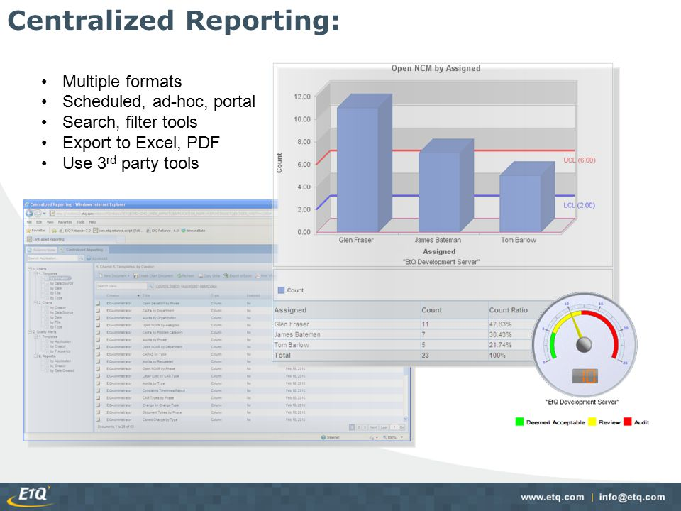 Multiple formats Scheduled, ad-hoc, portal Search, filter tools Export to Excel, PDF Use 3 rd party tools Centralized Reporting: