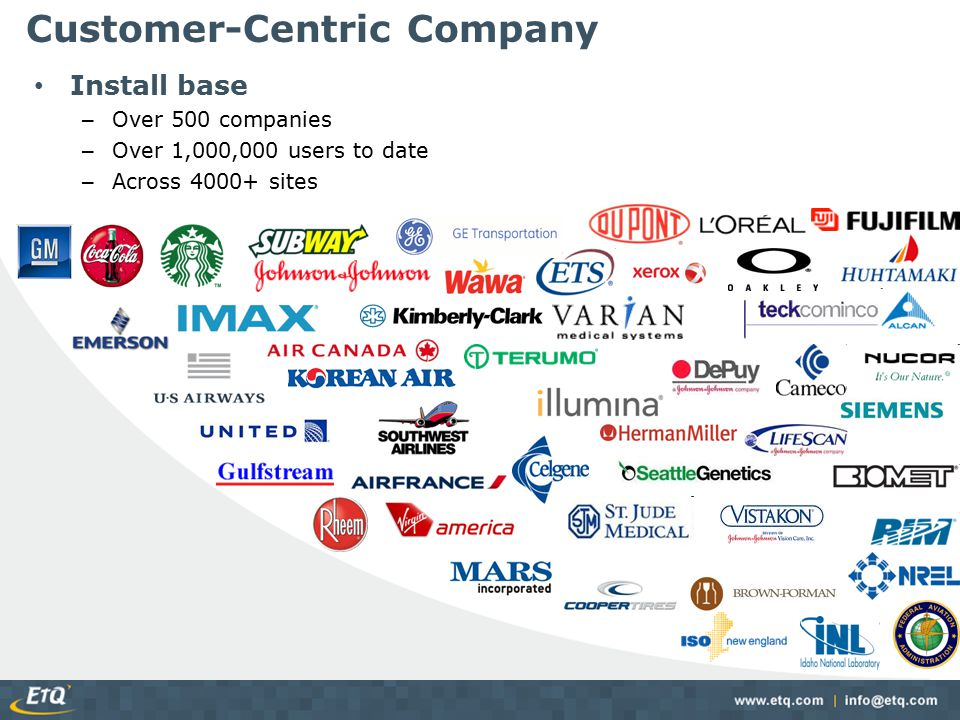 Customer-Centric Company Install base – Over 500 companies – Over 1,000,000 users to date – Across 4000+ sites