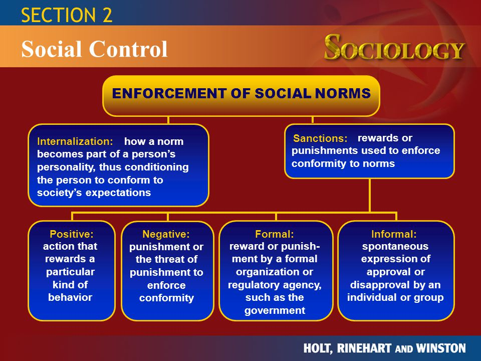 SECTION 2 Social Control ENFORCEMENT OF SOCIAL NORMS Internalization: Sanctions: Formal:Informal: Negative: Positive: punishment or the threat of puni