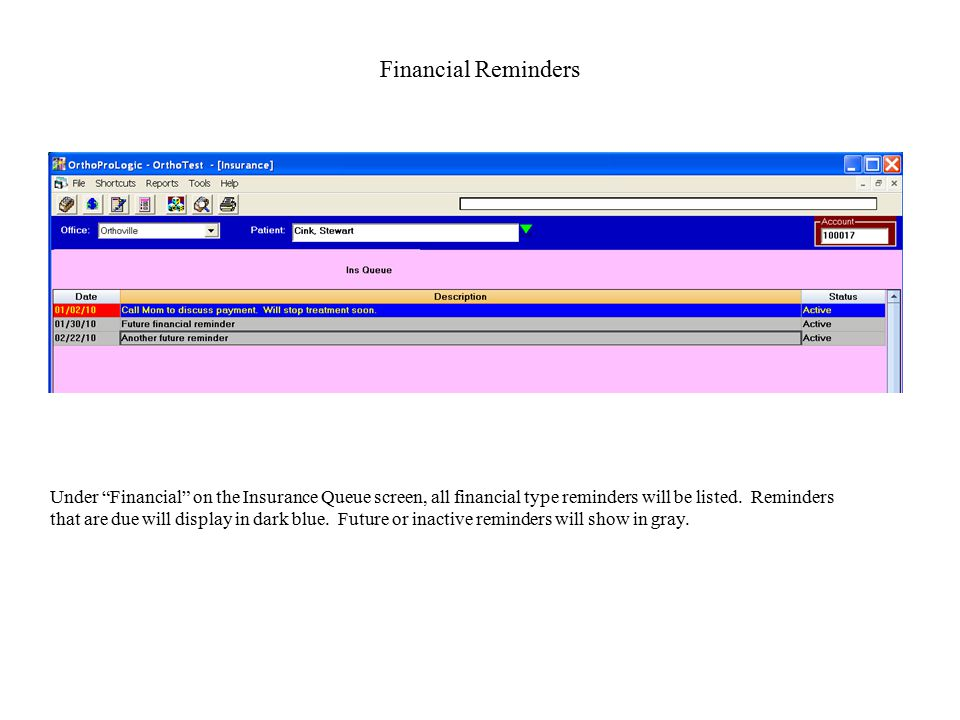 Financial Reminders Under Financial on the Insurance Queue screen, all financial type reminders will be listed.