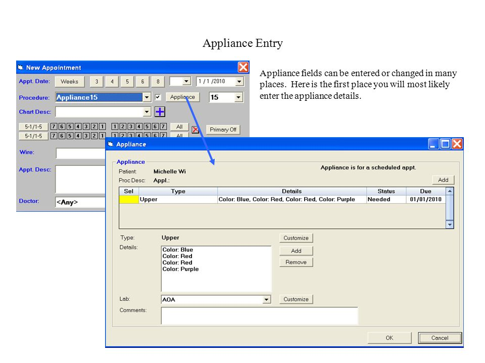 Appliance Entry Appliance fields can be entered or changed in many places.