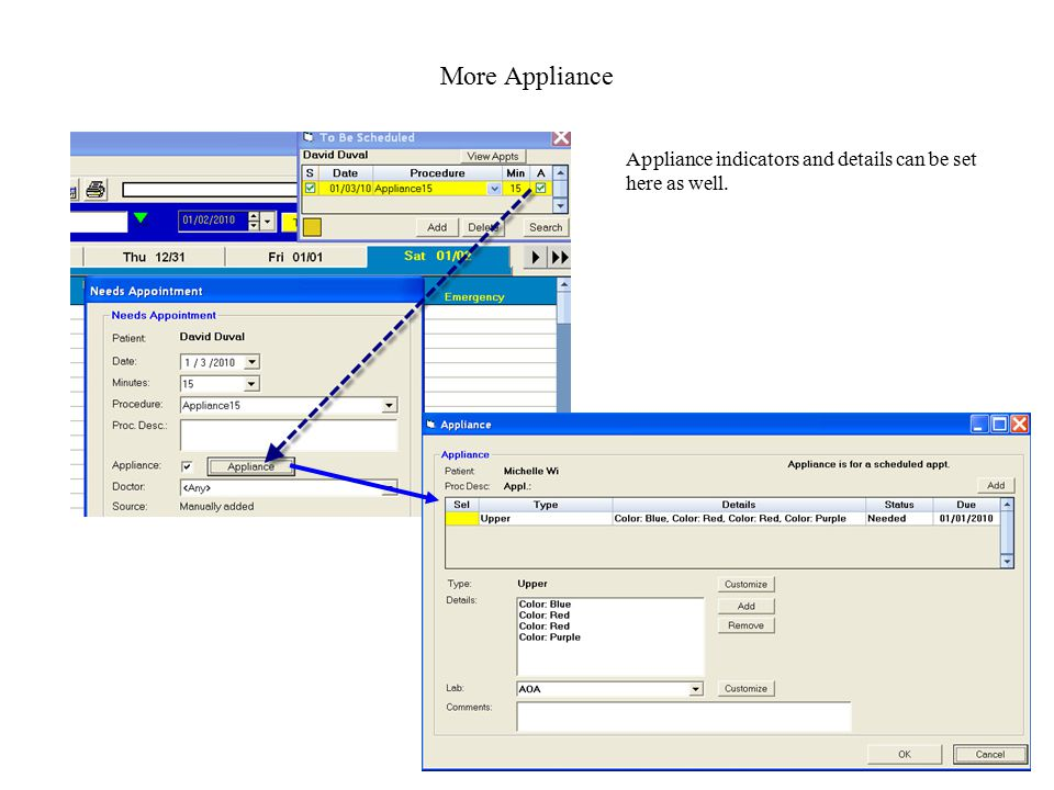 More Appliance Appliance indicators and details can be set here as well.