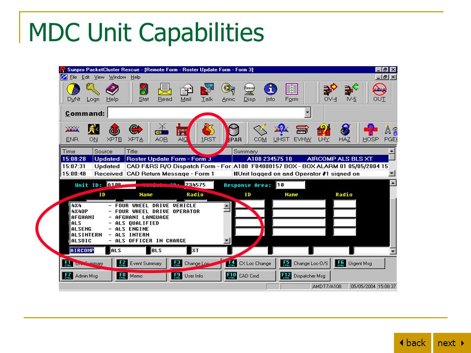 next   back MDC Unit Capabilities