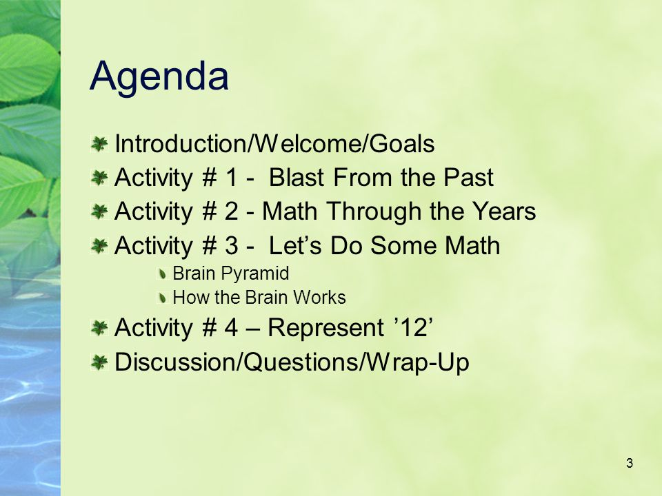 3 Agenda Introduction/Welcome/Goals Activity # 1 - Blast From the Past Activity # 2 - Math Through the Years Activity # 3 - Let's Do Some Math Brain Pyramid How the Brain Works Activity # 4 – Represent '12' Discussion/Questions/Wrap-Up