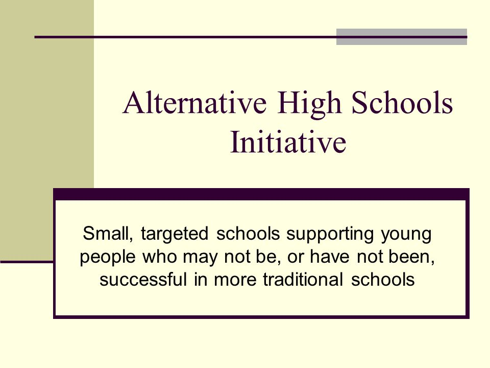Alternative High Schools Initiative Small, targeted schools supporting young people who may not be, or have not been, successful in more traditional schools