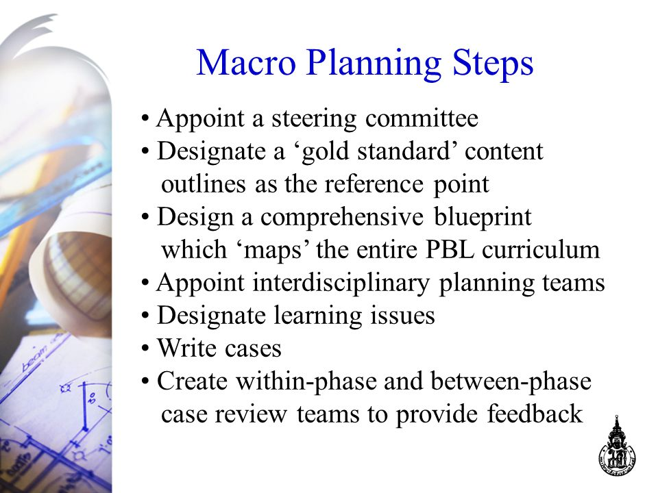 Macro Planning Steps Appoint a steering committee Designate a 'gold standard' content outlines as the reference point Design a comprehensive blueprint which 'maps' the entire PBL curriculum Appoint interdisciplinary planning teams Designate learning issues Write cases Create within-phase and between-phase case review teams to provide feedback