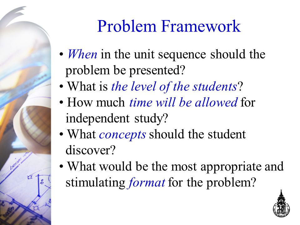 Problem Framework When in the unit sequence should the problem be presented.